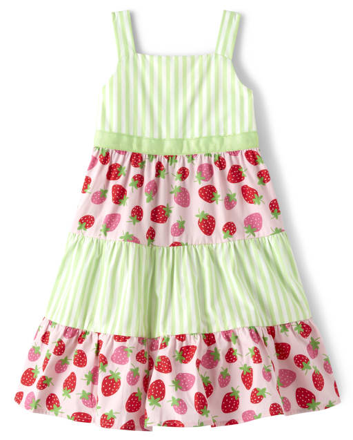 Girls Sleeveless Strawberry And Striped Poplin Tiered Dress - Strawberry Patch