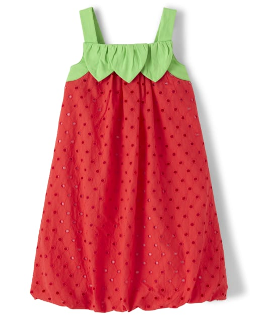 Girls Sleeveless Strawberry Eyelet Bubble Hem Dress - Strawberry Patch