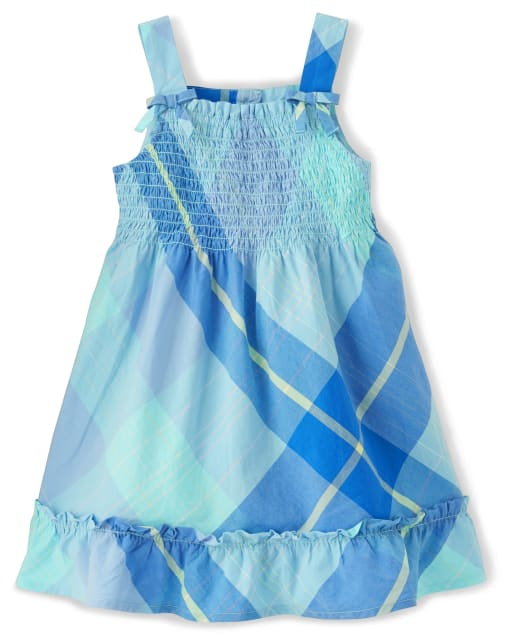 Girls Sleeveless Plaid Poplin Smocked Dress - Under The Sea