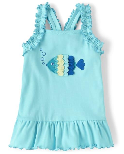 Girls Sleeveless Embroidered Ruffle Fish Racerback Peplum Tank Top - Under The Sea