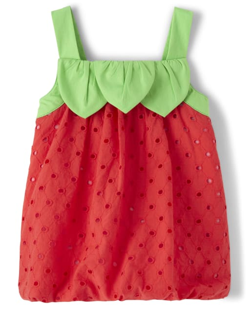 Girls Sleeveless Strawberry Eyelet Bubble Hem Top - Strawberry Patch