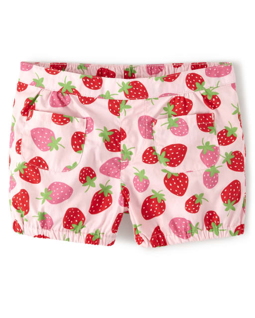 Girls Strawberry Print Poplin Pull On Bubble Shorts - Strawberry Patch