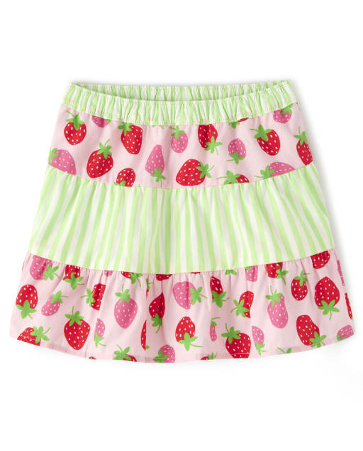 Girls Strawberry And Striped Poplin Tiered Skort - Strawberry Patch