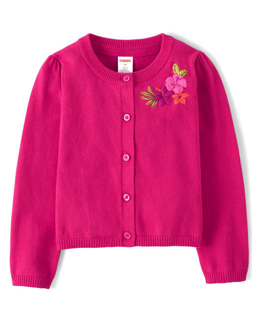 Girls Long Sleeve Embroidered Flower Cardigan - Summer Safari