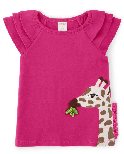 Girls Short Ruffle Sleeve Embroidered Applique And Tassel Giraffe Top - Summer Safari