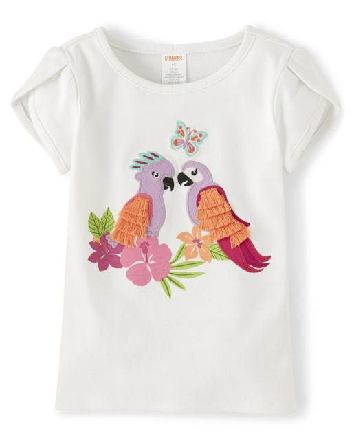 Girls Short Sleeve Embroidered Applique Tassel Parrot Top - Summer Safari
