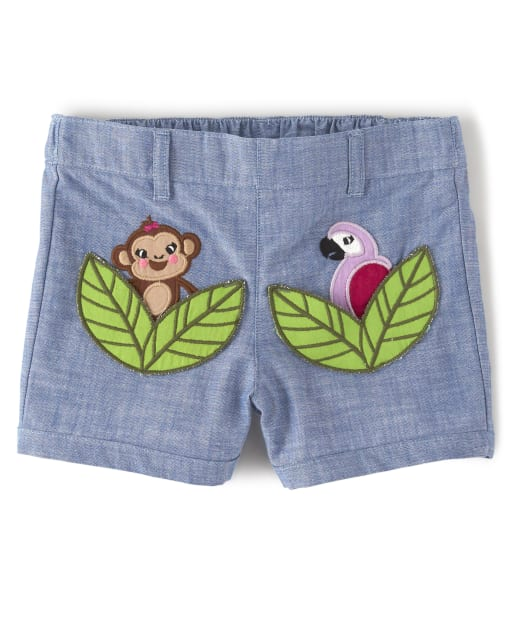 Girls Embroidered Applique Monkey And Parrot Chambray Pull On Shorts - Summer Safari