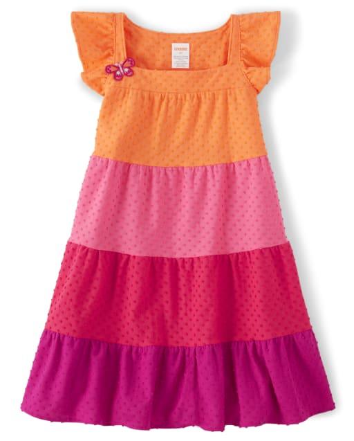 Girls Short Flutter Sleeve Colorblock Jacquard Knit Tiered Dress - Summer Safari