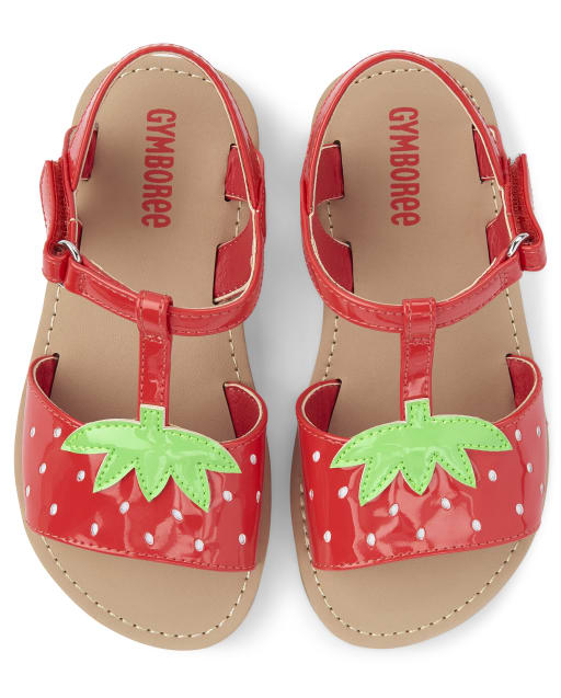 Girls Strawberry T-Strap Sandals - Strawberry Patch