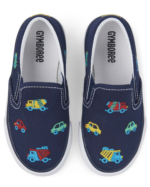 Boys Transportation Print Slip On Sneakers - Travel Adventure