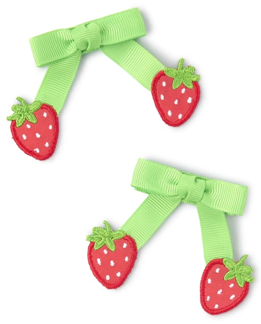 Girls Strawberry Bow Hair Clip 2-Pack - Strawberry Patch