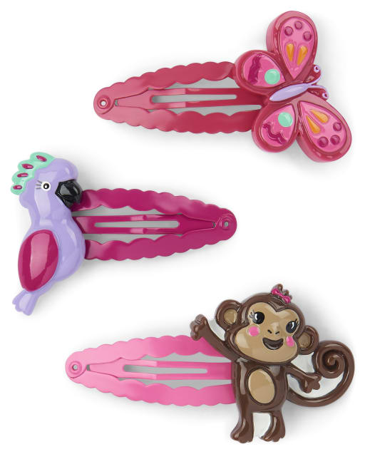 Girls Monkey Parrot And Butterfly Hair Clip 3-Pack - Summer Safari