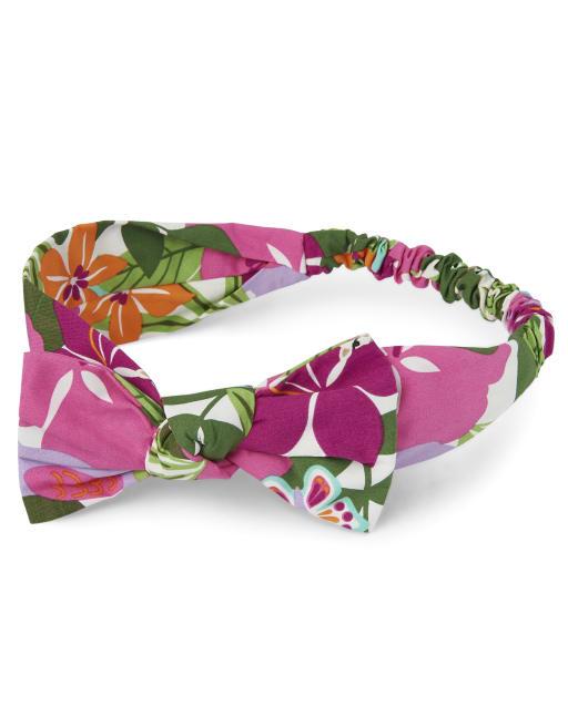 Girls Tropical Flower Print Bow Headwrap - Summer Safari