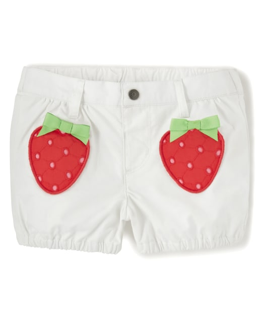 Girls Embroidered Strawberry Woven Pull On Shorts - Strawberry Patch