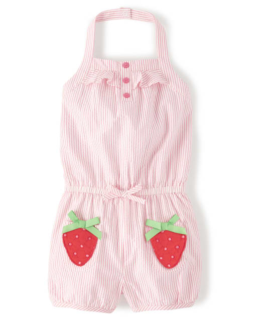 Girls Sleeveless Embroidered Applique Strawberry Seersucker Halter Romper - Strawberry Patch