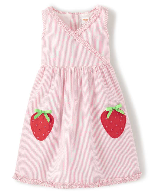 Girls Sleeveless Embroidered Applique Strawberry Seersucker Dress - Strawberry Patch