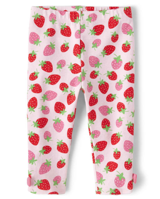Girls Strawberry Print Bow Knit Capri Leggings - Strawberry Patch