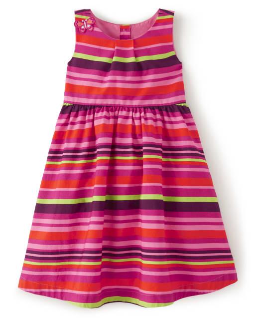 Girls Sleeveless Striped Poplin Dress - Summer Safari