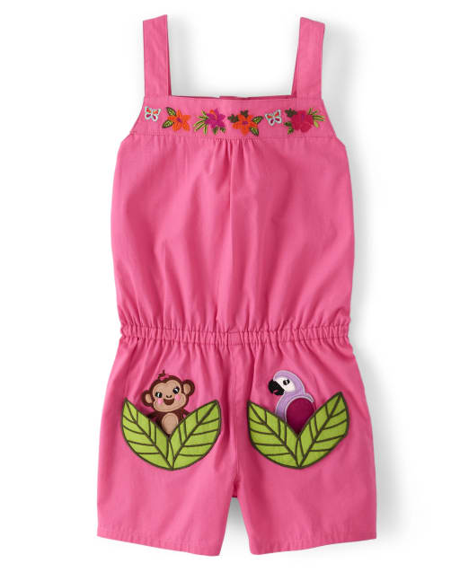 Girls Embroidered Applique Monkey And Parrot Poplin Romper - Summer Safari