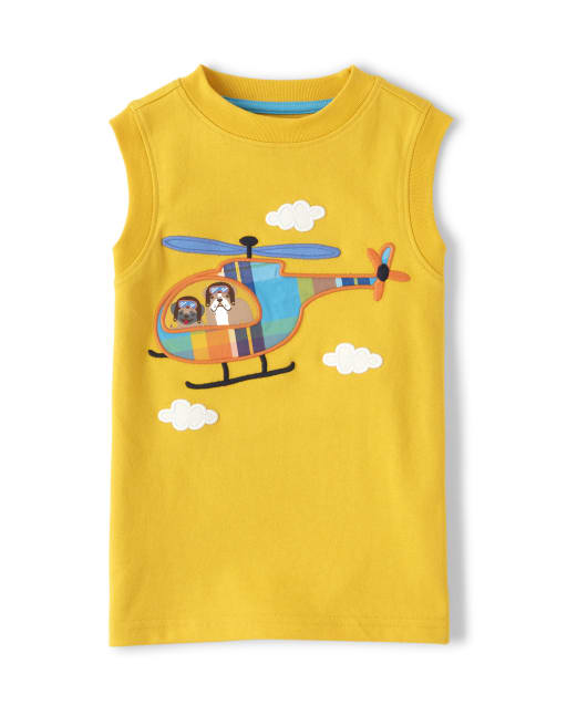 Boys Sleeveless Embroidered Applique Plaid Helicopter Tank Top - Travel Adventure