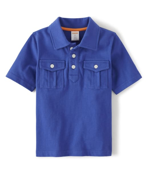 Boys Short Sleeve Pocket Jersey Polo - Summer Safari