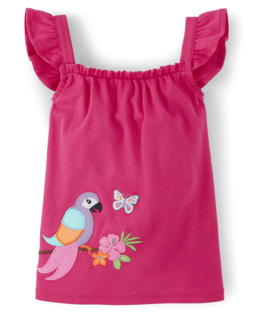 Girls Short Flutter Sleeve Embroidered Applique Parrot Ruffle Top - Summer Safari