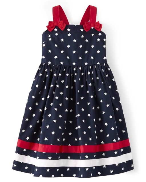 Girls Sleeveless Star Print Ribbon Poplin Dress - American Cutie