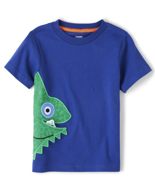 Boys Short Sleeve Embroidered Applique Chameleon Top - Summer Safari