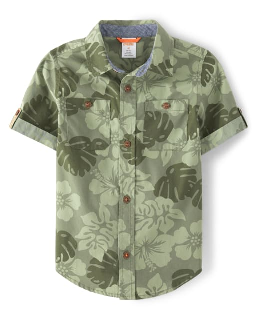 Boys Short Sleeve Jungle Print Button Up Shirt - Summer Safari