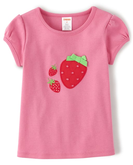 Girls Short Sleeve Embroidered Applique Strawberry Top - Strawberry Patch