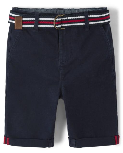 Shorts chinos tejidos con cinturón para niños - American Cutie