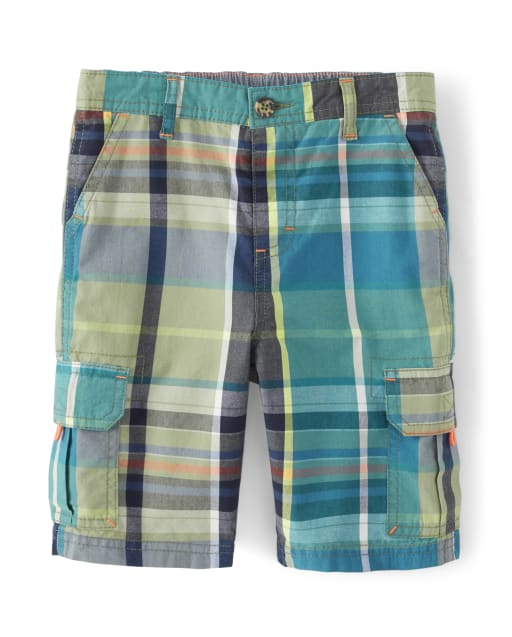Boys Plaid Poplin Cargo Shorts - Summer Safari