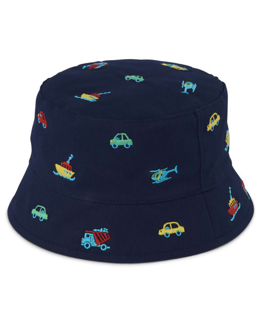 Boys Embroidered Transportation Print Bucket Hat - Travel Adventure