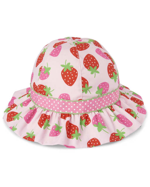 Girls Strawberry Print Bucket Hat - Strawberry Patch