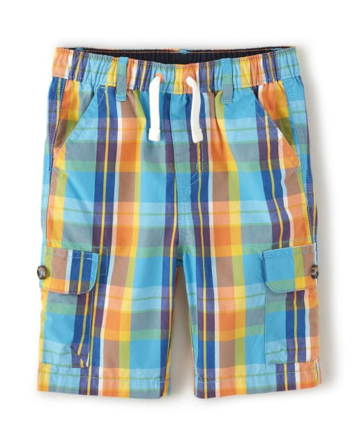 Boys Plaid Poplin Pull On Cargo Shorts - Travel Adventure