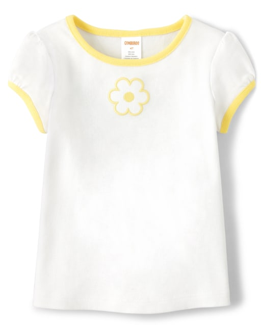 Girls Short Sleeve Embroidered Applique Flower Top - Sunny Daisies