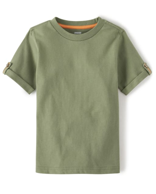 Boys Short Rolled Sleeve Top - Summer Safari