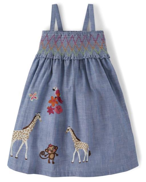 Girls Sleeveless Embroidered Giraffe and Monkey Chambray Smocked Dress - Summer Safari