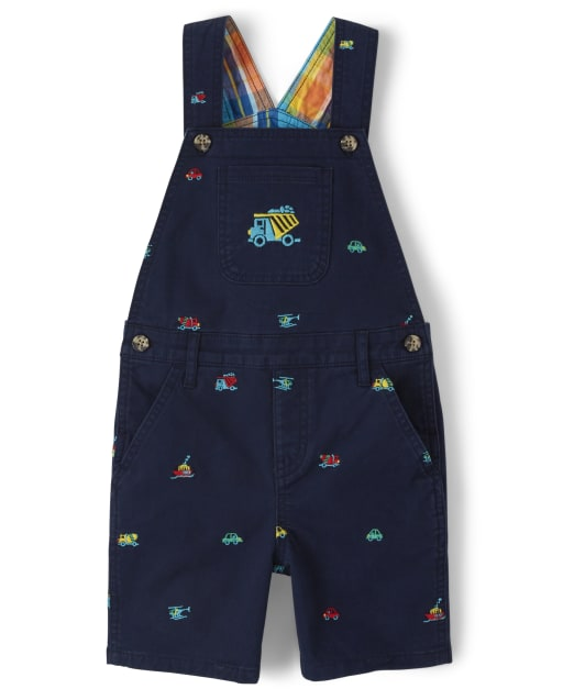 Boys Embroidered Transportation Print Woven Shortalls - Travel Adventure
