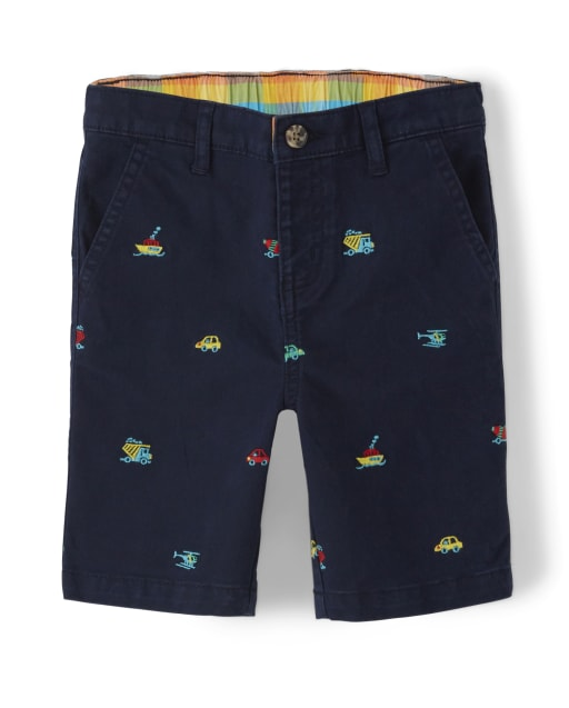 Boys Embroidered Transportation Print Woven Chino Shorts - Travel Adventure