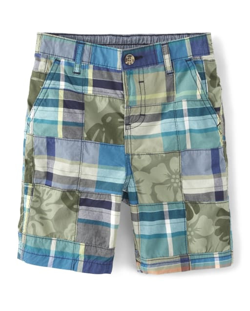 Boys Madras Plaid Poplin Chino Shorts - Summer Safari
