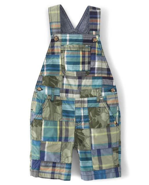Boys Madras Plaid Poplin Shortalls - Summer Safari