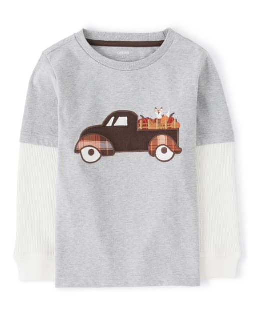Boys Long Thermal Sleeve Embroidered Truck 2 In 1 Top - Harvest