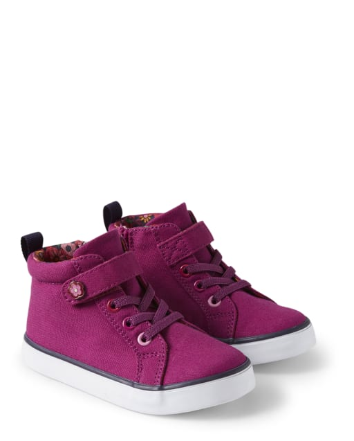 Girls Chambray Hi Top Sneakers - Berry Cute