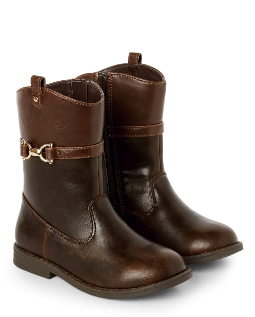 Girls Faux Leather Riding Boots - Pony Club