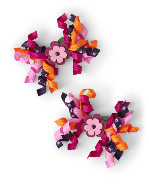 Girls Curly Hair Clips 2-Pack - Berry Cute