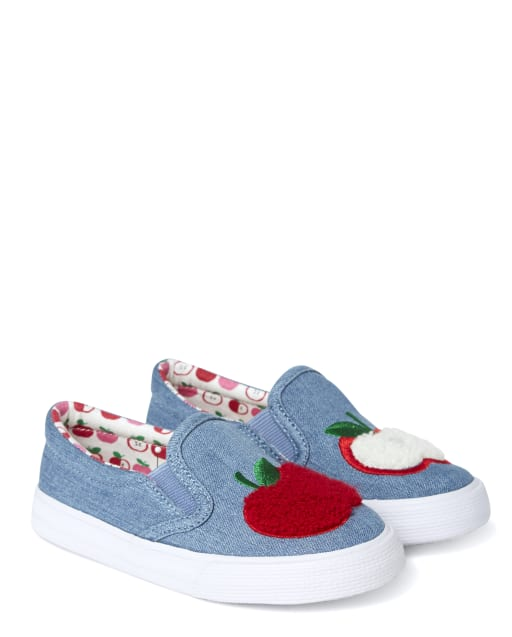 Girls Embroidered Apple Denim Slip On Sneakers - Candy Apple
