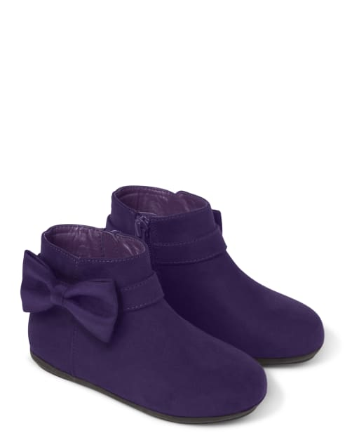 Girls Bow Faux Suede Booties - Whooo's Cute