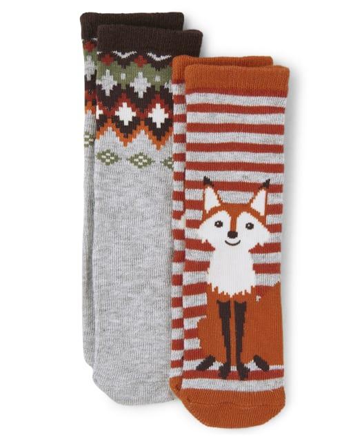 Boys Fox And Fairisle Crew Socks 2-Pack - Harvest