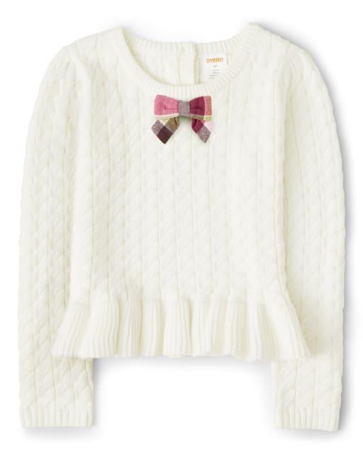 Girls Long Sleeve Cable Knit Peplum Sweater - Pony Club